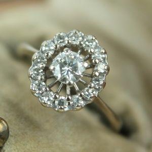 diamond halo ring 18k white gold engagement 1ct